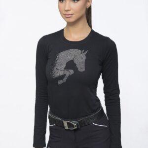 Das CAVALLIERA Top langarm Jumping Star aus weicher Baumwolle bietet eine elegante Silhouette für die Pferdefreundin. Naturfasern behalten ihre Form.
