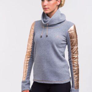 Der CAVALLIERA Sweater Rose Gold ist ein warmer Pullover aus hochwertigem Fleece mit beeindruckenden Steppdetails. Die Ärmel haben Daumenlöcher.