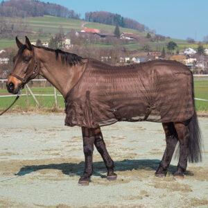 Diese Netzdecke ist extrem leicht für die Pferde, da grobmaschig. Nicht wie auf dem Foto ist das die Netzdecke ohne Kreuzgurten, dafür Gehfalten.